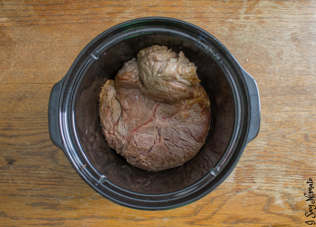 Slow Cooker Pot Roast - I Say Nomato Nightshade Free Food Blog pot roast beef mushroom soup sweet potato root vegetables slow cooker crockpot nightshade free recipes nightshade free diet recipes gluten free nightshade free recipes nightshade free diet recipes without nightshades nightshade free foods nightshade free cookbook no nightshade recipes nightshade free cooking