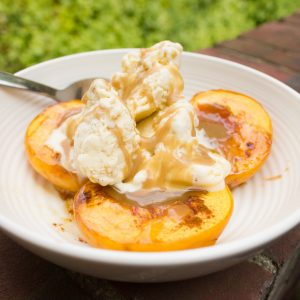Baked Peaches with Ice Cream and Salted Caramel