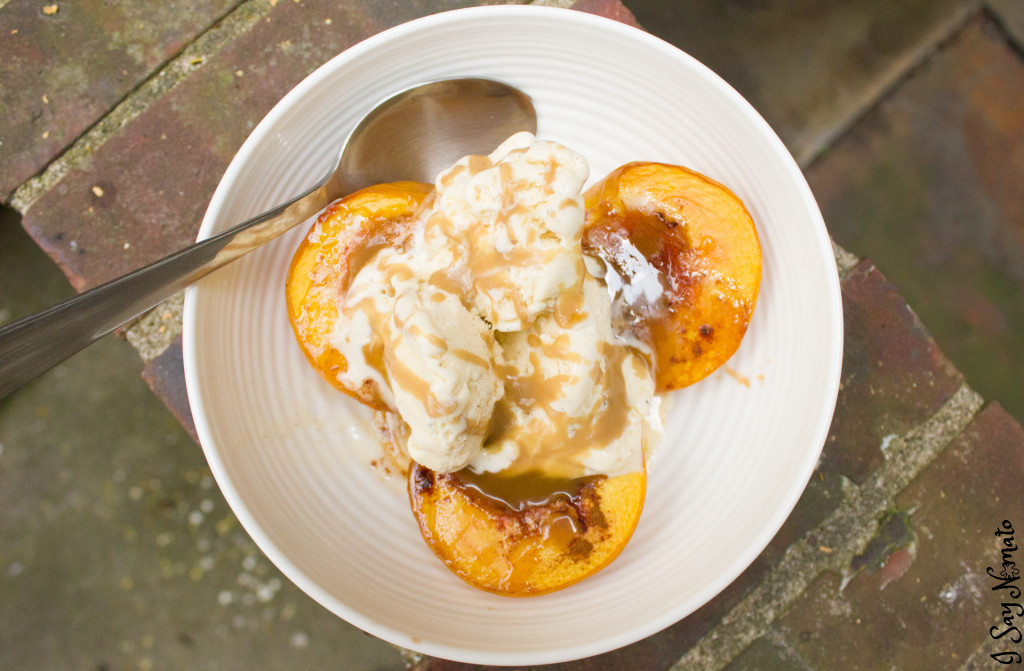 Baked Peaches with Ice Cream and Salted Caramel - I Say Nomato Nightshade Free Food Blog nightshade free recipes nightshade free diet recipes nightshade free recipes nightshade free diet recipes without nightshades nightshade free foods nightshade free cookbook no nightshade recipes nightshade free cooking pepper free tomato free potato free