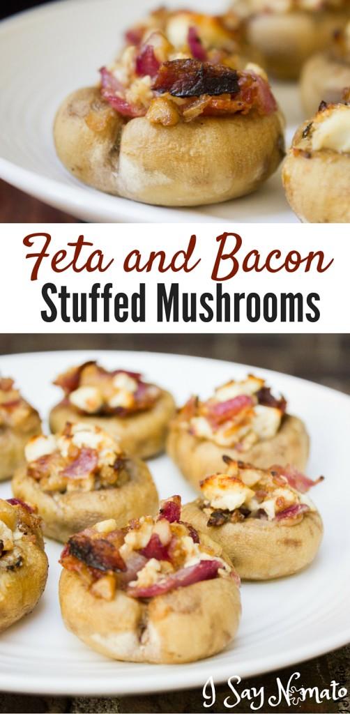 Feta and Bacon Stuffed Mushrooms - I Say Nomato Nightshade Free Food Blog