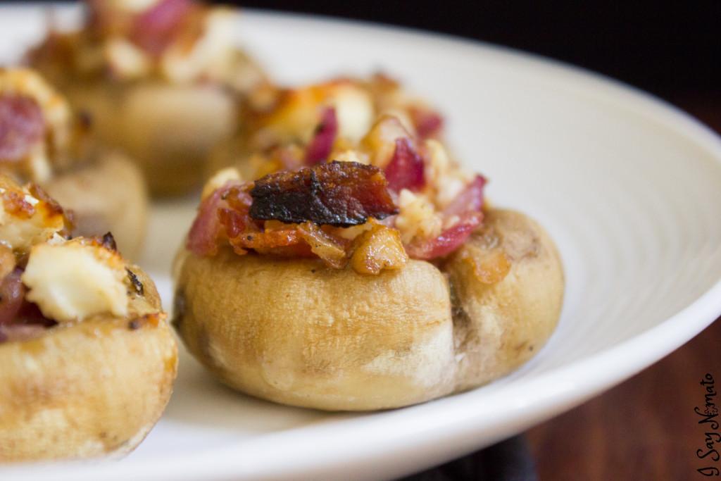 Feta and Bacon Stuffed Mushrooms | I Say Nomato