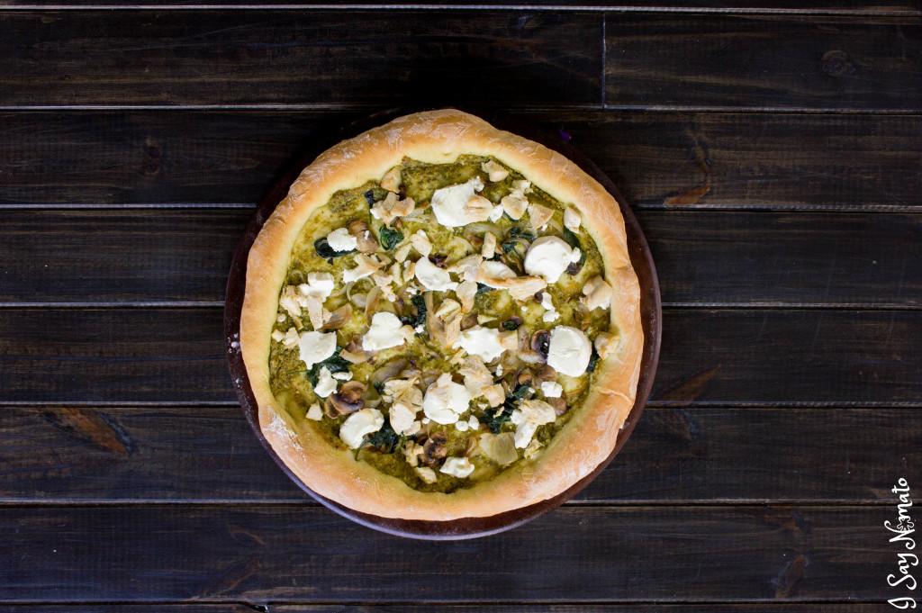 Pesto and Goat Cheese Pizza - I Say Nomato Nightshade Free Food Blog