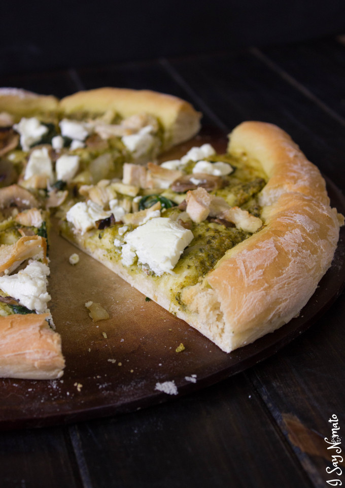 Pesto and Goat Cheese Pizza - I Say Nomato Nightshade Free Food Blog