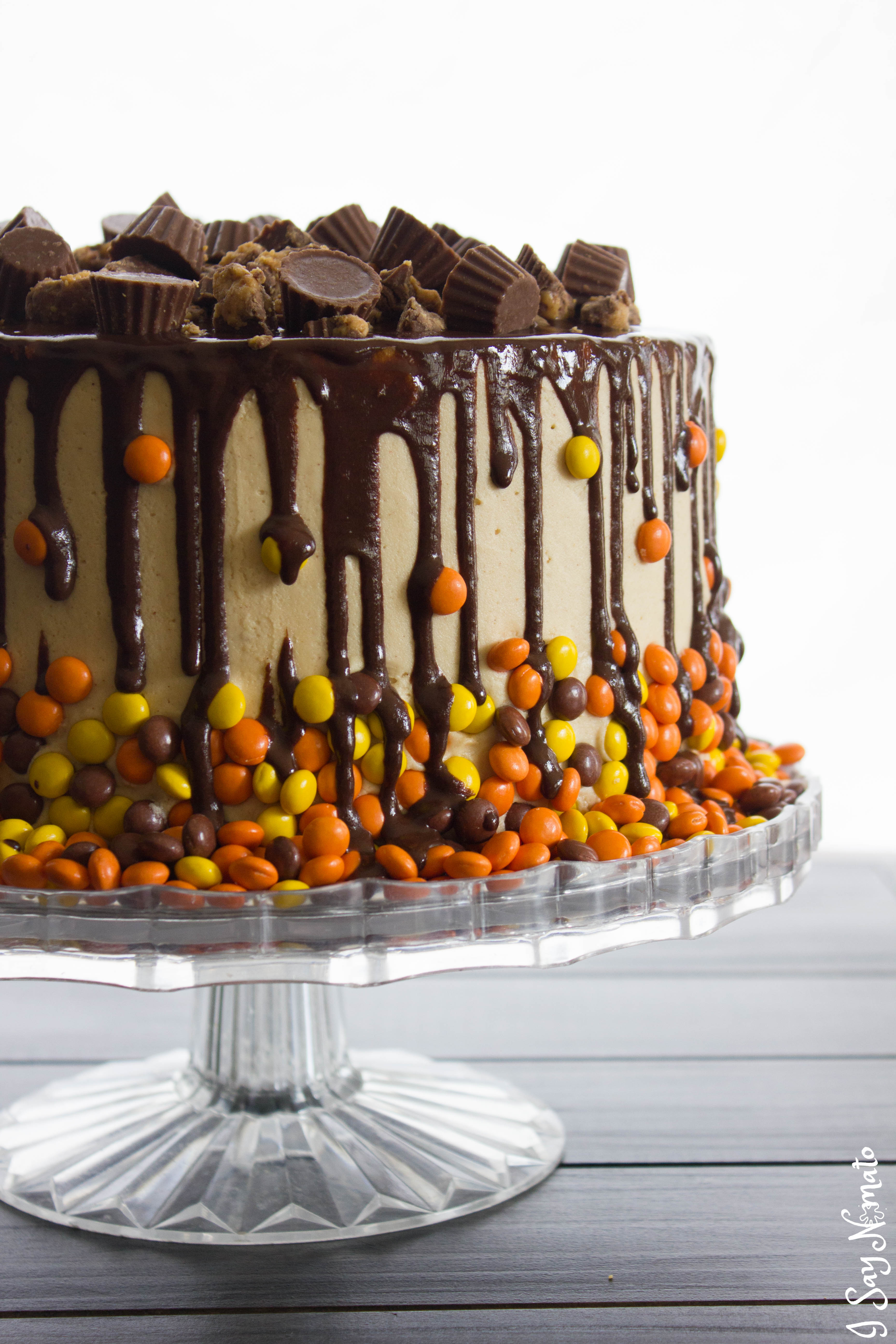 Chocolate and Peanut Butter Drip Cake | I Say Nomato