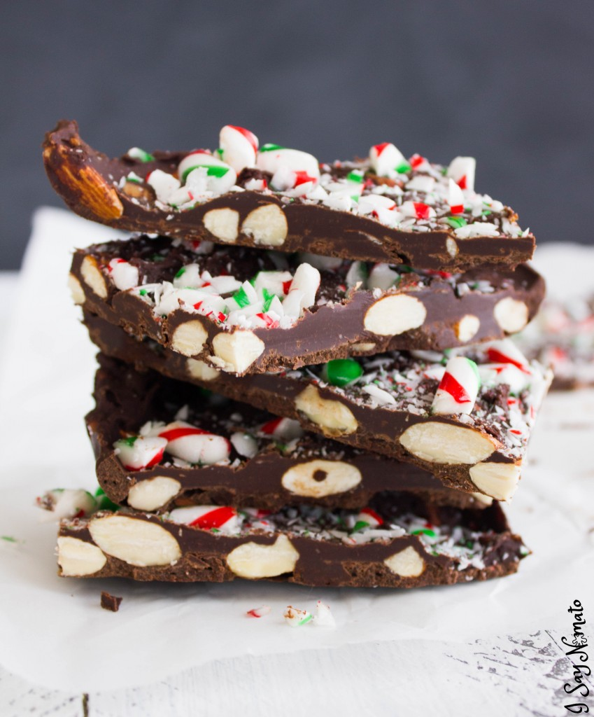 Chocolate and Almond Candy Cane Bark - I Say Nomato Nightshade Free Food Blog