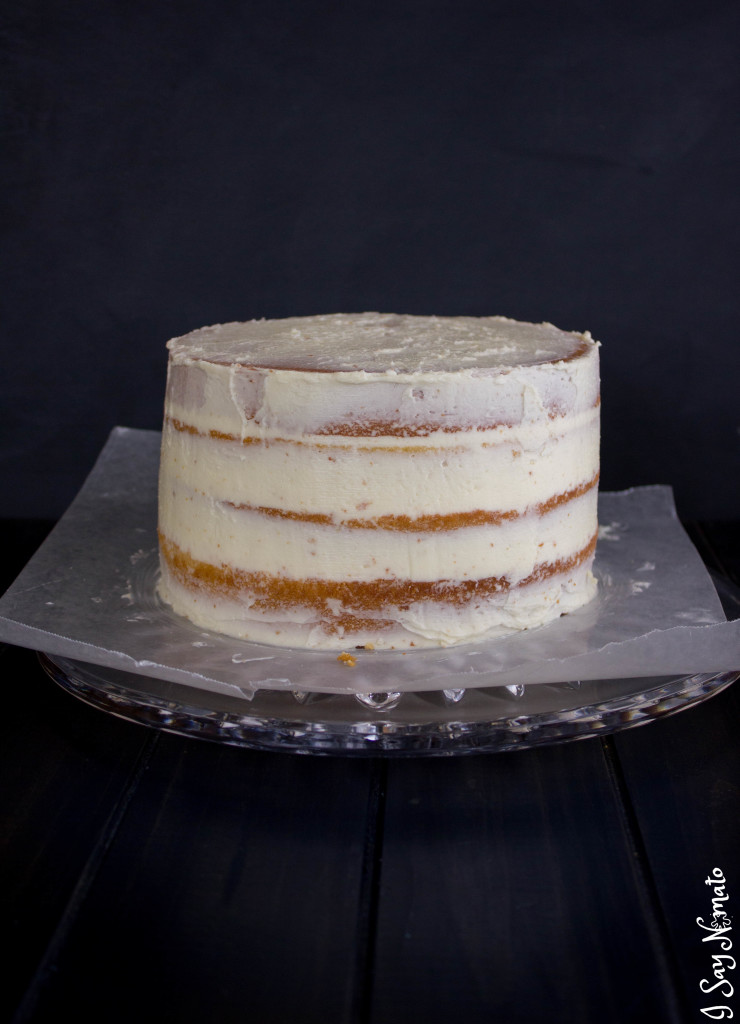 White Chocolate & Caramel Drip Cake - I Say Nomato Nightshade Free Food Blog
