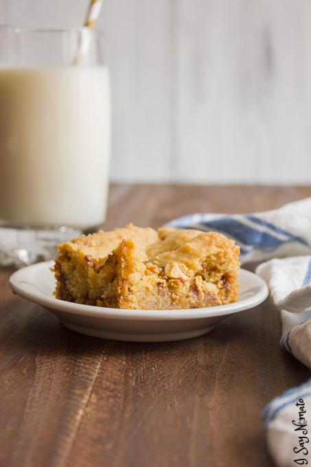 Chocolate and Caramel Blondies - I Say Nomato Nightshade Free Food Blog