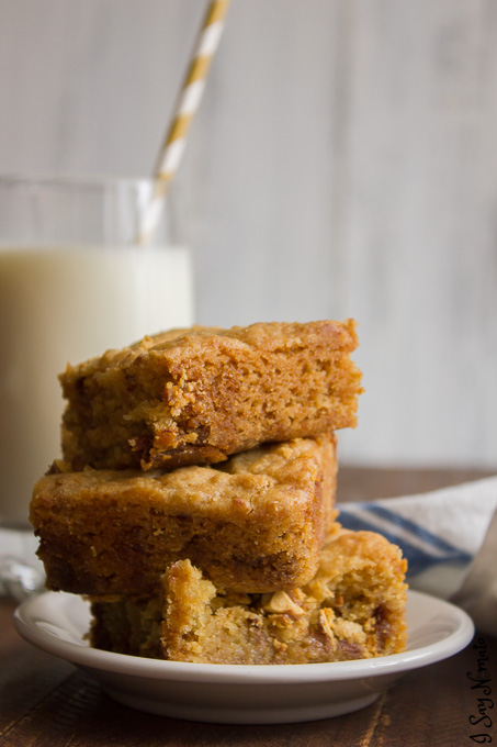 These Chocolate and Caramel Blondies are just the right amount of sweet, gooey deliciousness. Perfect with a tall glass of milk!