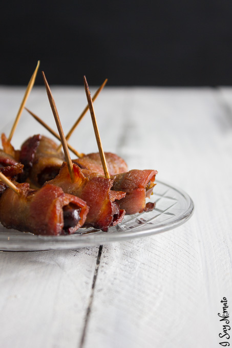 Crispy bacon wrapped around sweet dates, these babies are the perfect appetizer! Bacon Wrapped Dates - I Say Nomato Nightshade Free Food Blog