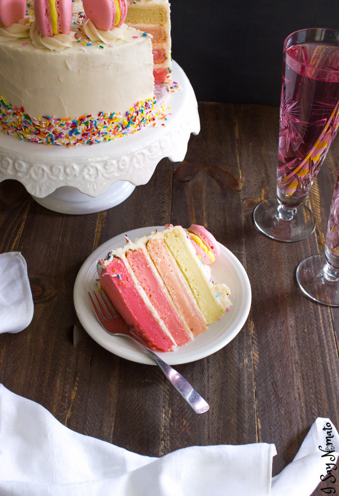 Pink Lemonade Ombre Layer Cake - I Say Nomato Nightshade Free Food Blog
