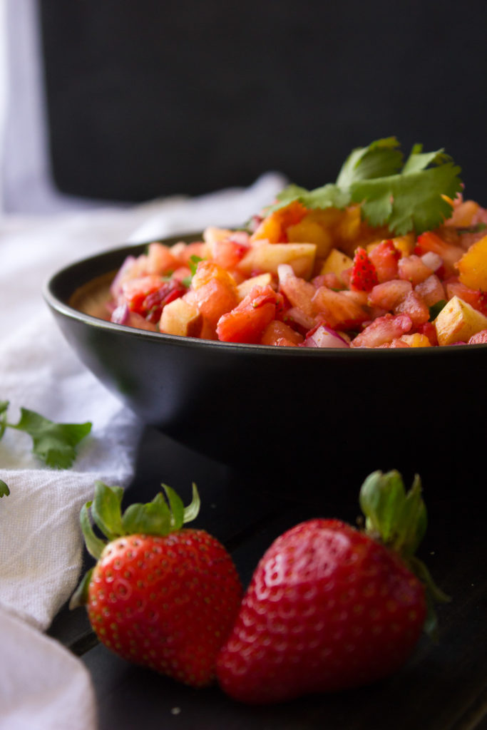 This Watermelon and Strawberry Salsa can go either sweet or savoury, and apples give it the perfect crunch!