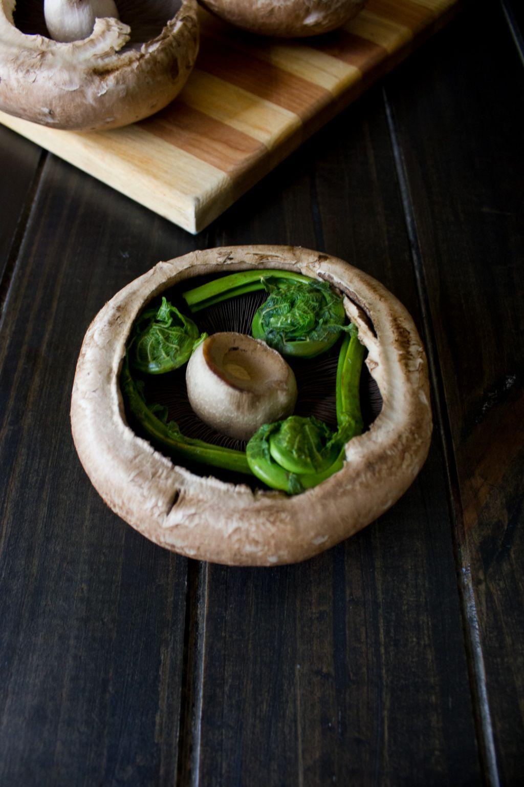 Fiddlehead Stuffed Portobello Mushrooms - I Say Nomato