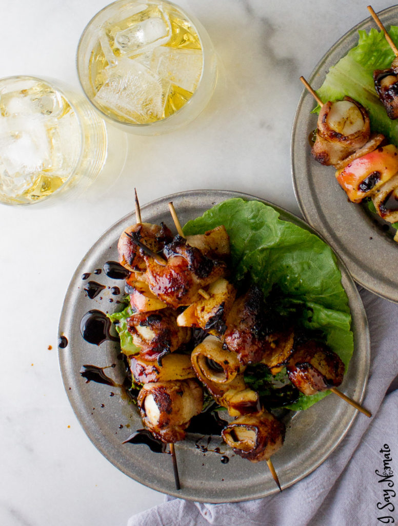 Whisky and Whisky and Apple Bacon Wrapped Scallops - I Say Nomato Bacon Wrapped Scallops