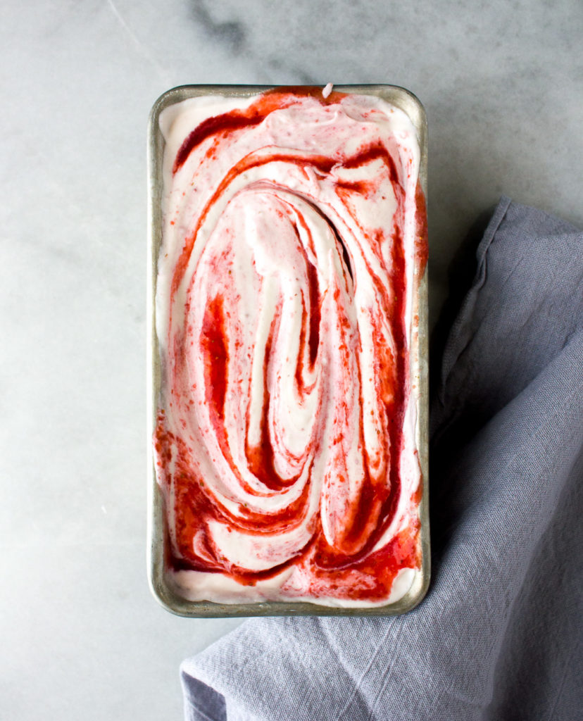 3 Ingredient No-Churn Strawberry Ice Cream - I Say Nomato