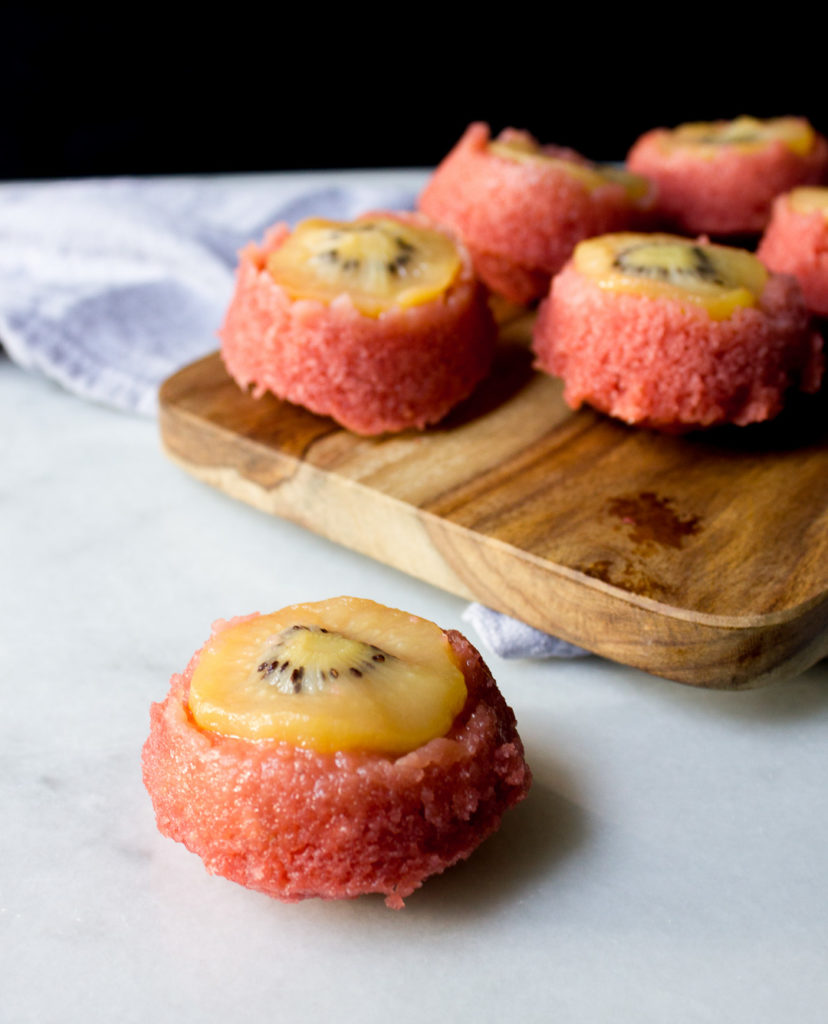 Strawberry SunGold Kiwi Upside-Down Cupcakes - I Say Nomato