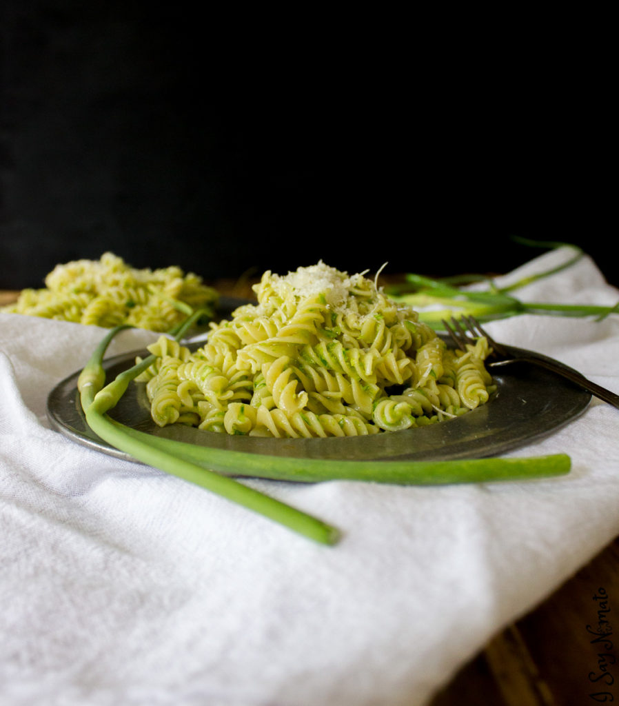 Garlic Scape Pesto is not for the faint of heart! Full of garlic zing, it goes perfectly on pasta or pizza!