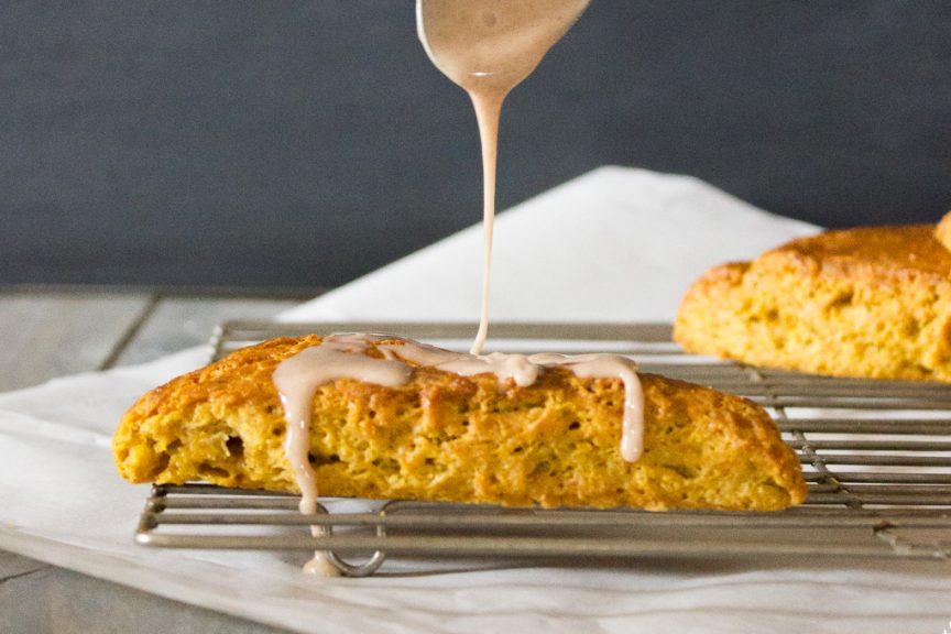 Pumpkin Scones with Cinnamon Sugar Glaze - I Say Nomato