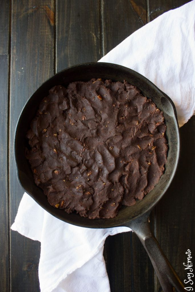 Double Chocolate Skillet Cookie with Pecans and Salted Caramel - I Say Nomato