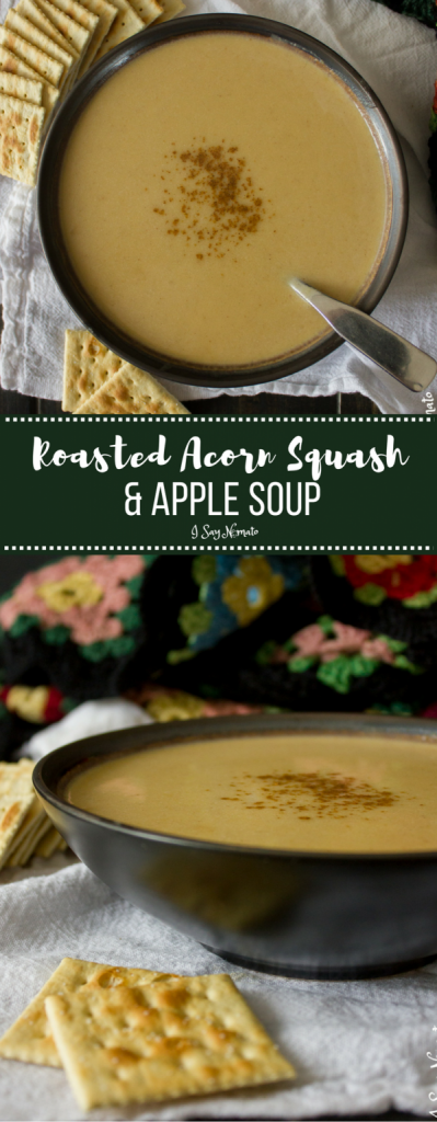 Cozy, comforting Roasted Acorn Squash and Apple Soup from I Say Nomato! Sure to warm your soul.