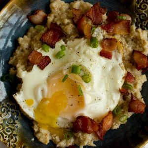 Savory Oatmeal with Bacon, Eggs and Chives