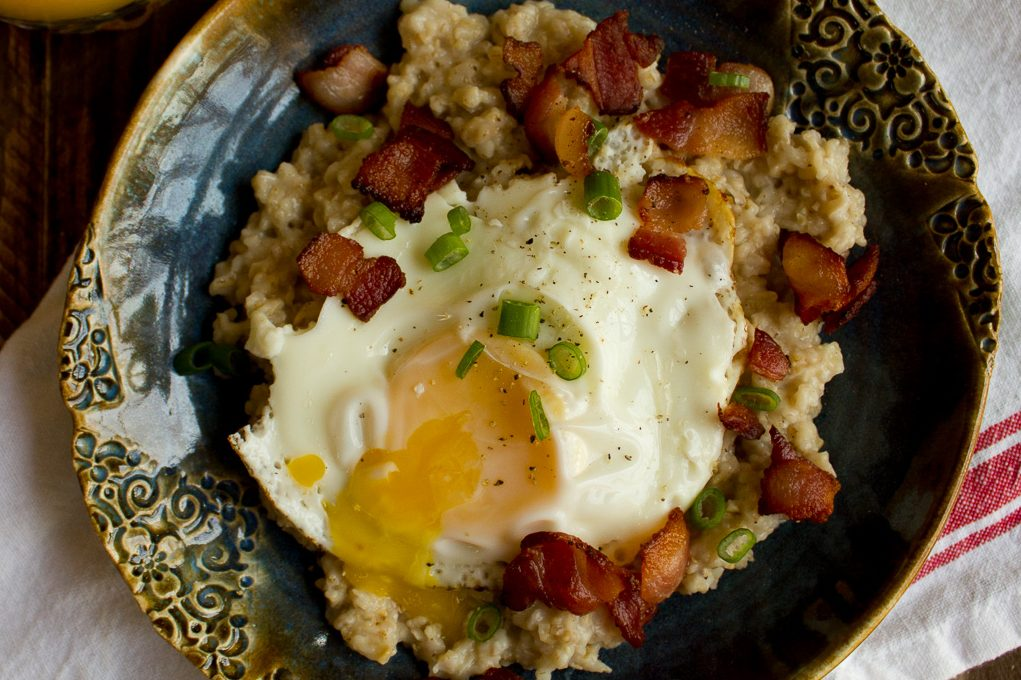 Savory Oatmeal With Bacon Eggs And Chives I Say Nomato