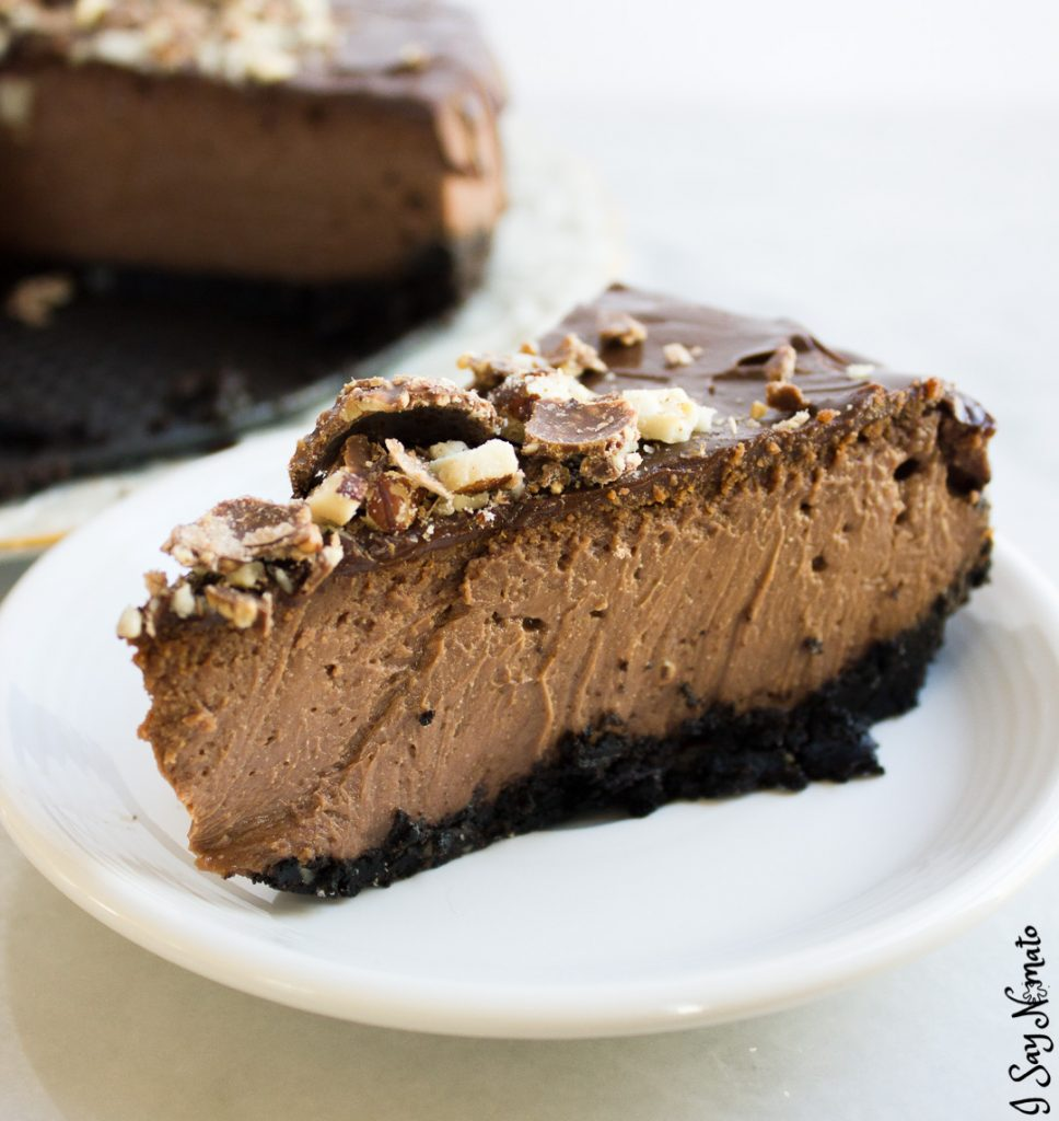 Indulge yourself with this ridiculously smooth and creamy Chocolate Hazelnut Cheesecake. Made with a full jar of Nutella and topped with crumbled Fererro Rocher, it is a chocolate-hazelnut lover's paradise!