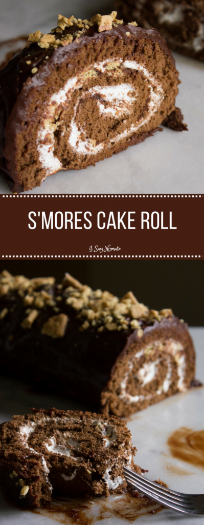 This S'mores Swiss Roll is filled with marshmallow fluff, sprinkled with crunchy graham crackers, and covered in chocolate ganache for a sweet, camping-inspired treat!