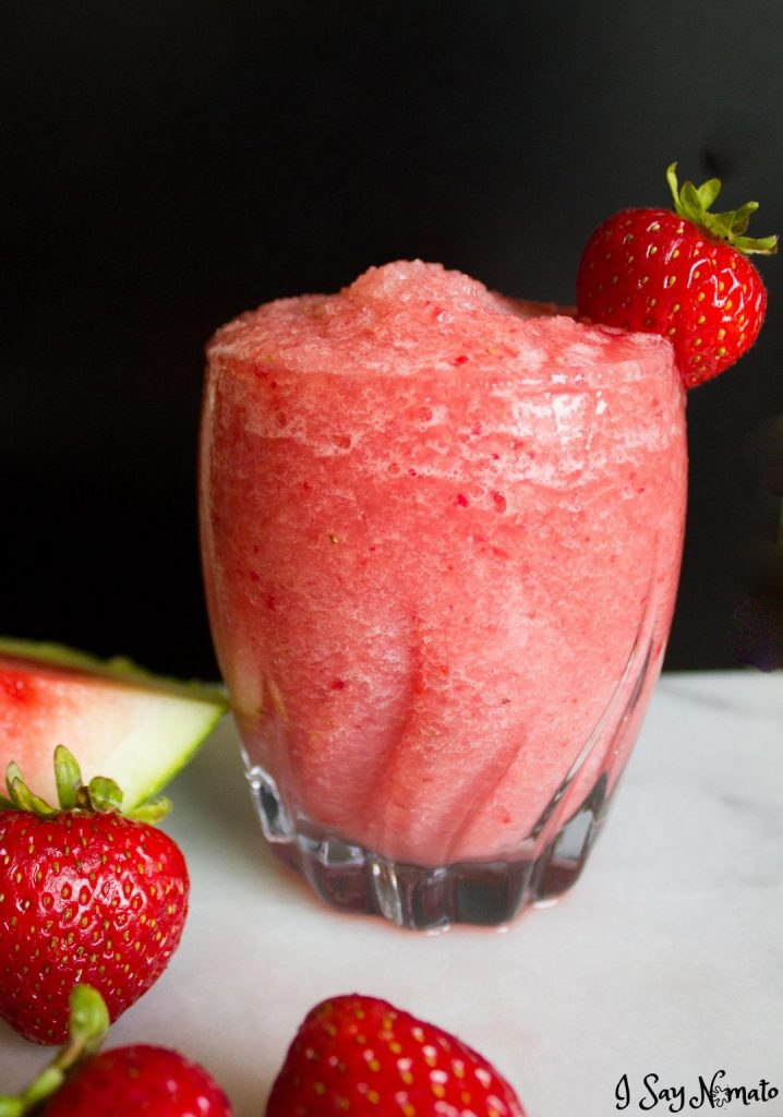 Made with just three ingredients, these Strawberry Watermelon Slushies are filled with fresh, flavourful fruit for a quick and refreshing drink!