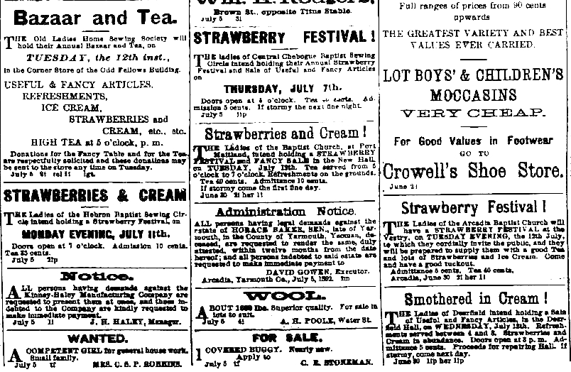 07-05_ads Strawberry Festivals_Yarmouth Herald_1892-07-05