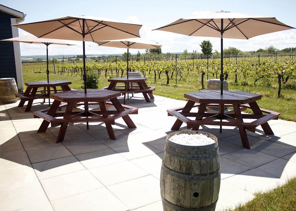 Outdoor patio winery Nova Scotia