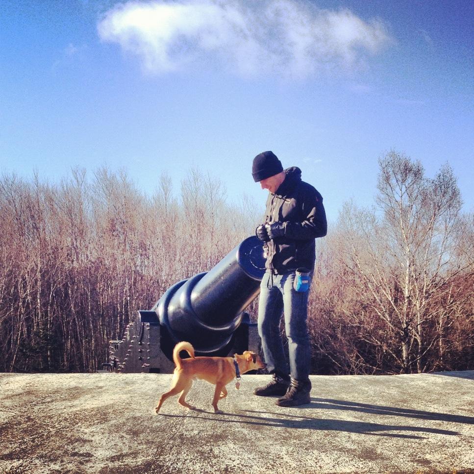 puppy man outdoors cannon york redoubt dog friendly halifax nova scotia