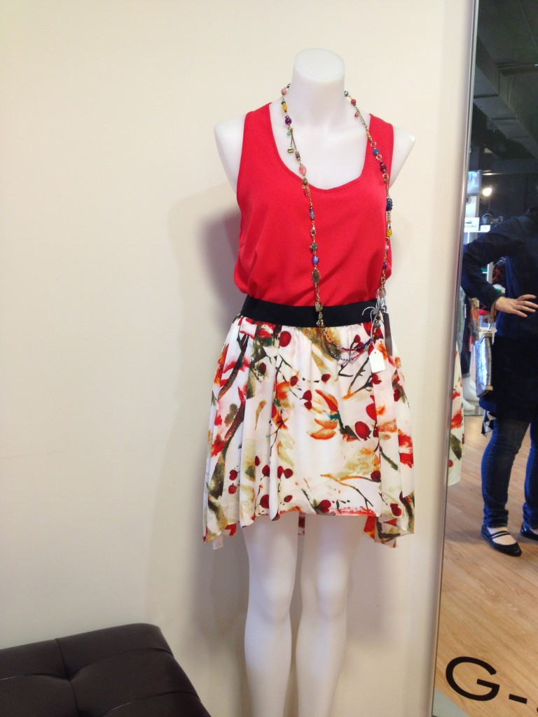 Cute Dress with red top and necklace at Russell Simmonds