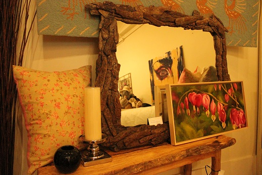 Driftwood Mirror Painting and Candle at Savour Decor