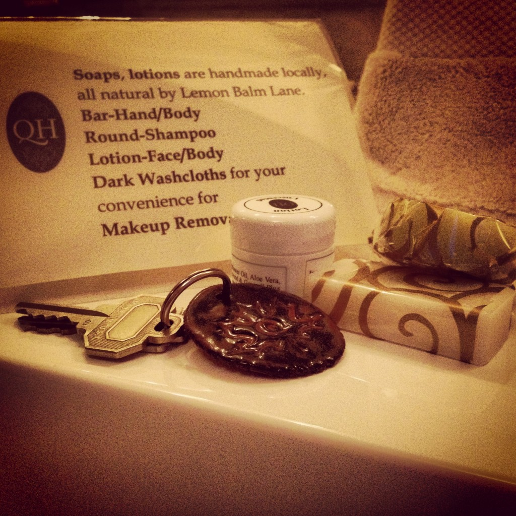Quartermain inn uses all local products, right down to the keychains!