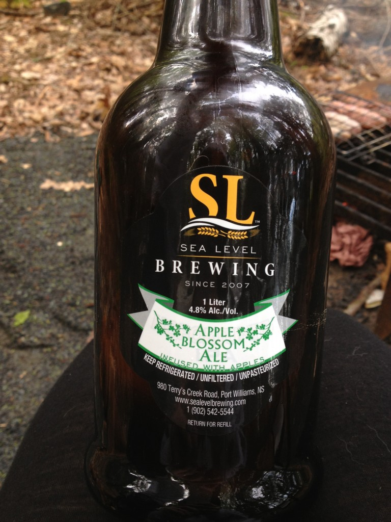 A growler of Sealevel Apple Blossom beer