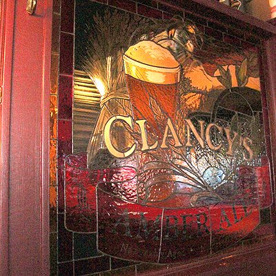 Very cool stained glass ad for Clancys