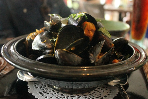 Fresh ginger and fresh cilantro went into these decadent mussels