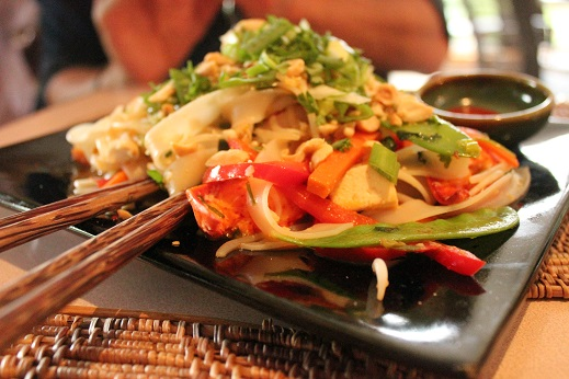 Spicy Lobster pad thai with full lobster claws