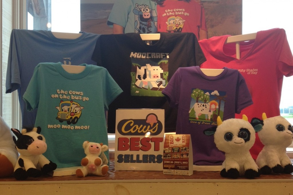 Display of the most popular shirts at Cows Ice Cream