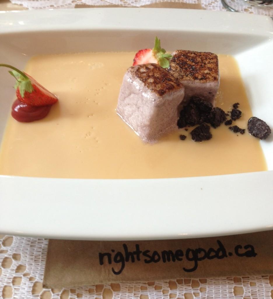 Dulche du Leche panna cotta with oreos and blueberry marshmallows!