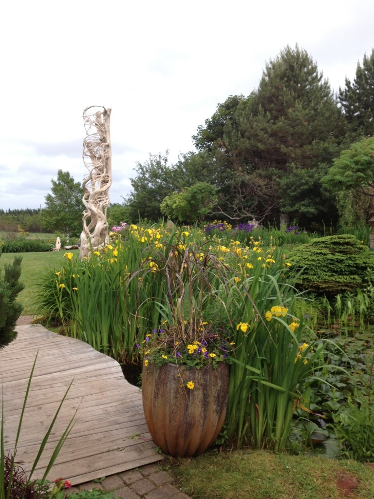 Lush green garden and a boardwalk