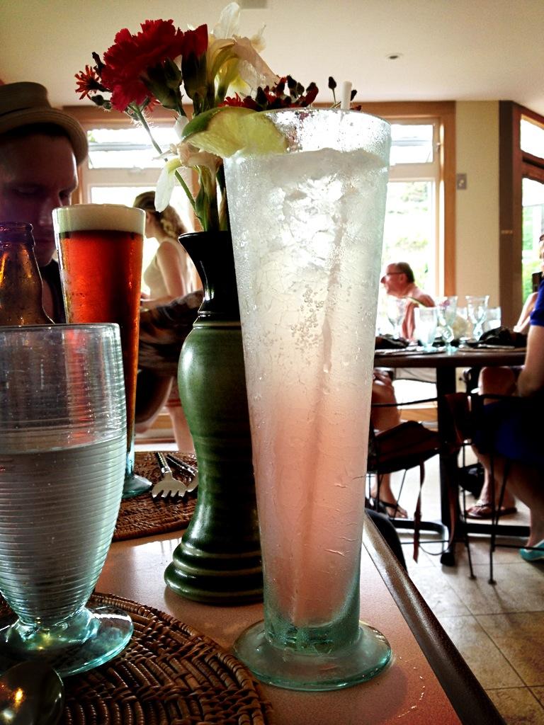 Fresh rhubarb juice with PEI moonshine