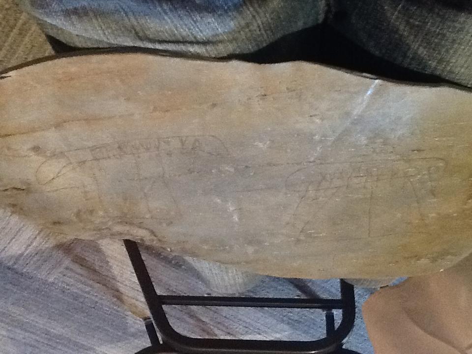 Silicone cast of a petroglyph from Kejimkujik