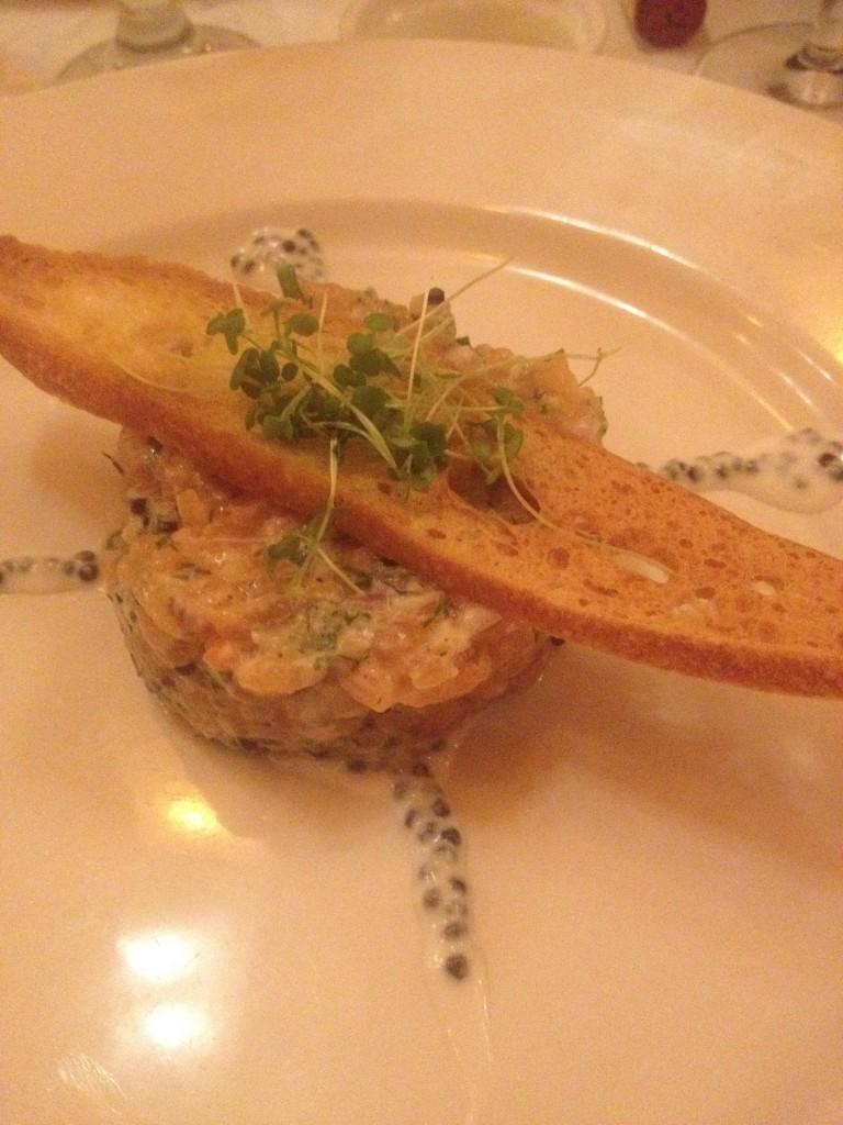 Salmon Tartar Holder Restaurant Montreal