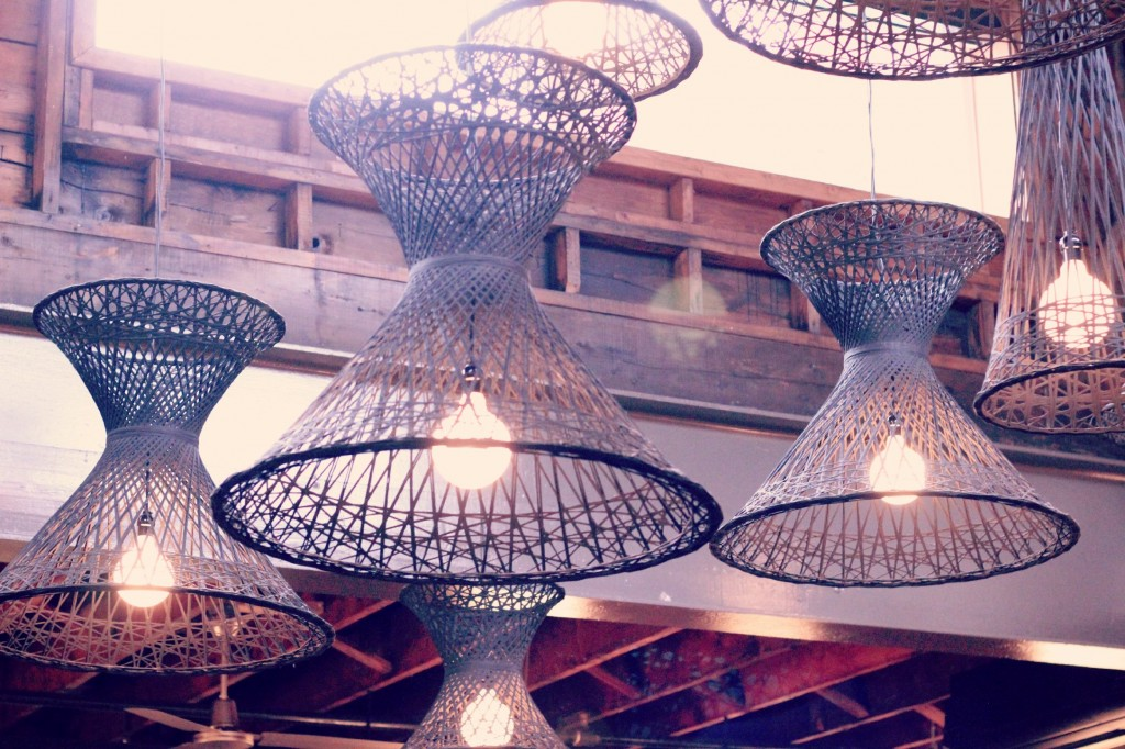 These lights are wicker chairs that were salvaged from the White Point Beach Resort fire in 2011.