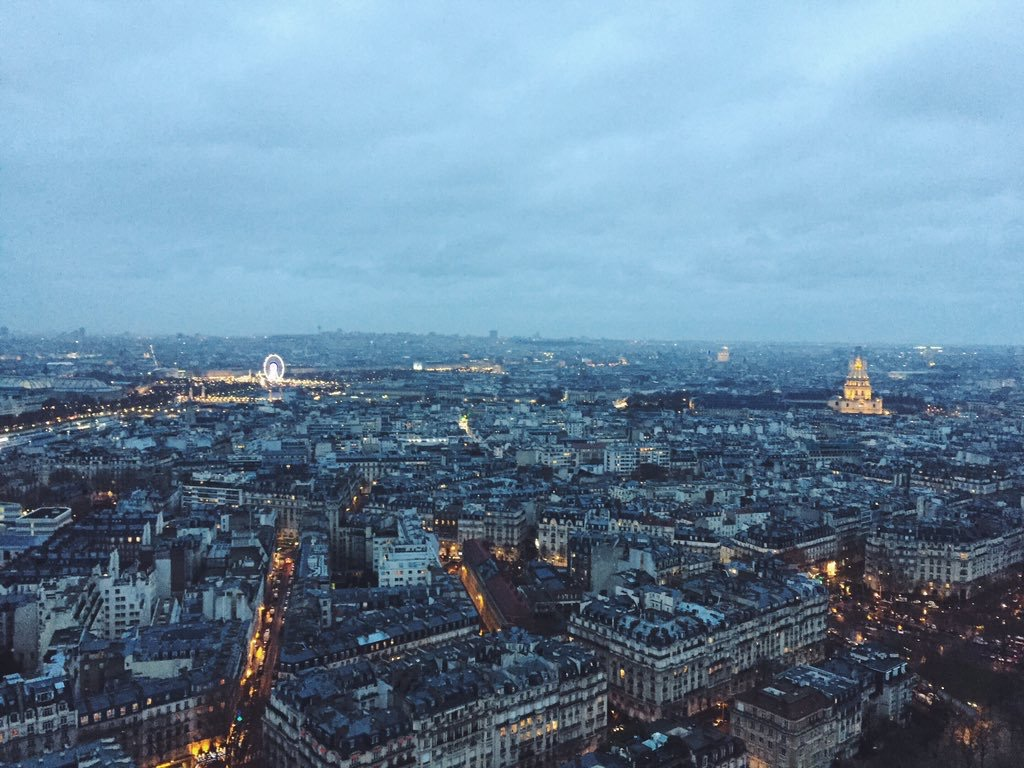 Paris - view from the eiffel tower at dusk